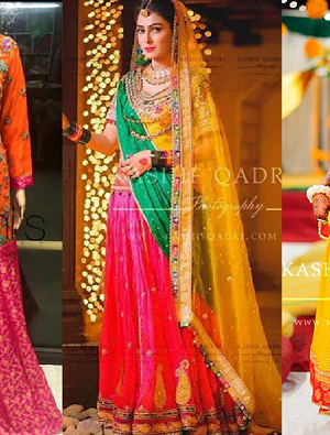 Latest Mehndi Lehenga & Sharara Dresses Designs 2016-2017