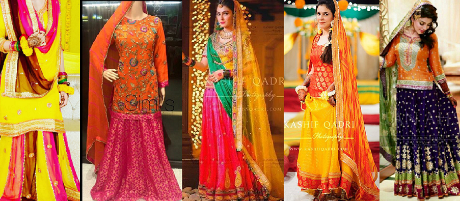 Latest Mehndi Lehenga & Sharara Dresses Designs 2016-2017