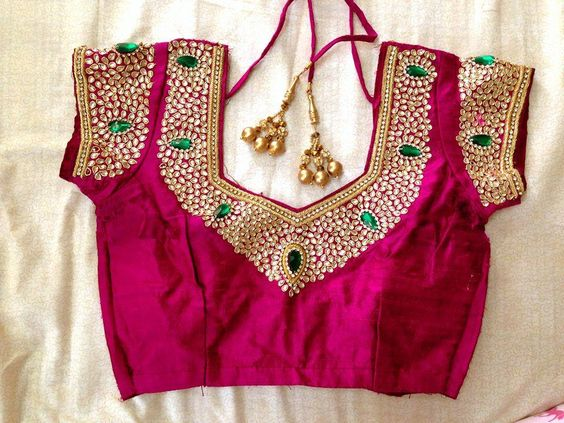 Kundan Work- Top 5 Most Popular Embroidered Sarees Blouses Trends for Women (1)