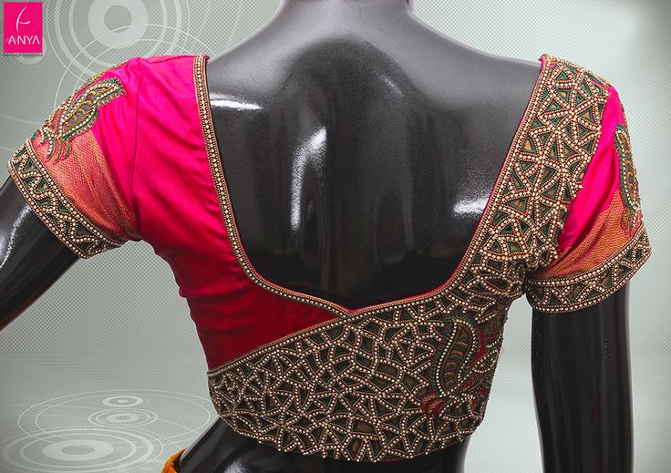 Stonework Embroidered Blouses- Top 5 Most Popular Embroidered Sarees Blouses Trends for Women (2)