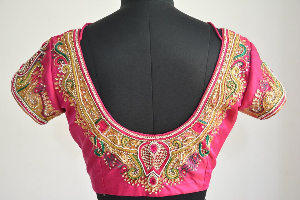 Stonework Embroidered Blouses- Top 5 Most Popular Embroidered Sarees Blouses Trends for Women (3)