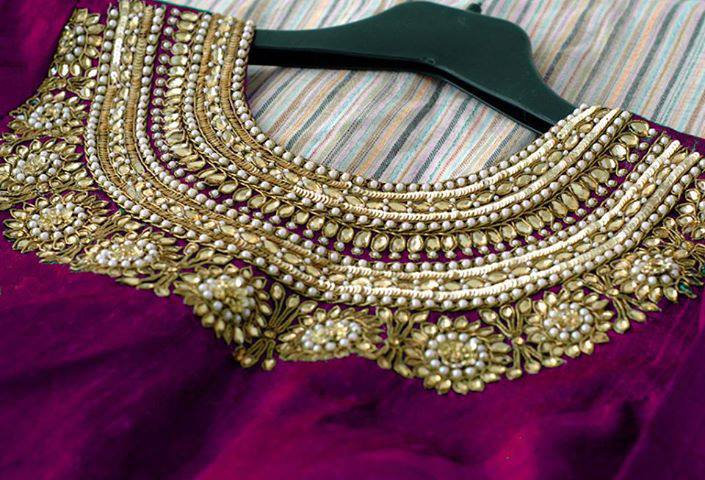 Stonework Embroidered Blouses- Top 5 Most Popular Embroidered Sarees Blouses Trends for Women (5)