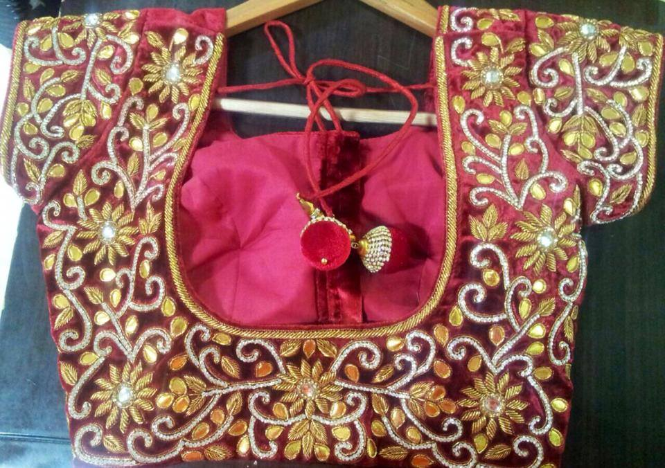Zardosi Work Blouses- Top 5 Most Popular Embroidered Sarees Blouses Trends for Women (5)