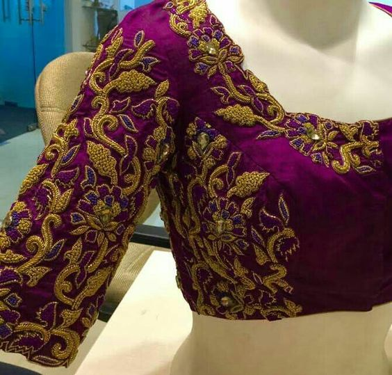 Zardosi Work Blouses- Top 5 Most Popular Embroidered Sarees Blouses Trends for Women (6)