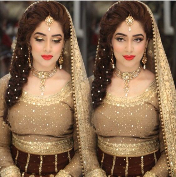 Indian Wedding Hairstyles For Brides 2017 2018: Engagement Bridal Makeup Tutorial Tips 2018-2019 & Dress Ideas
