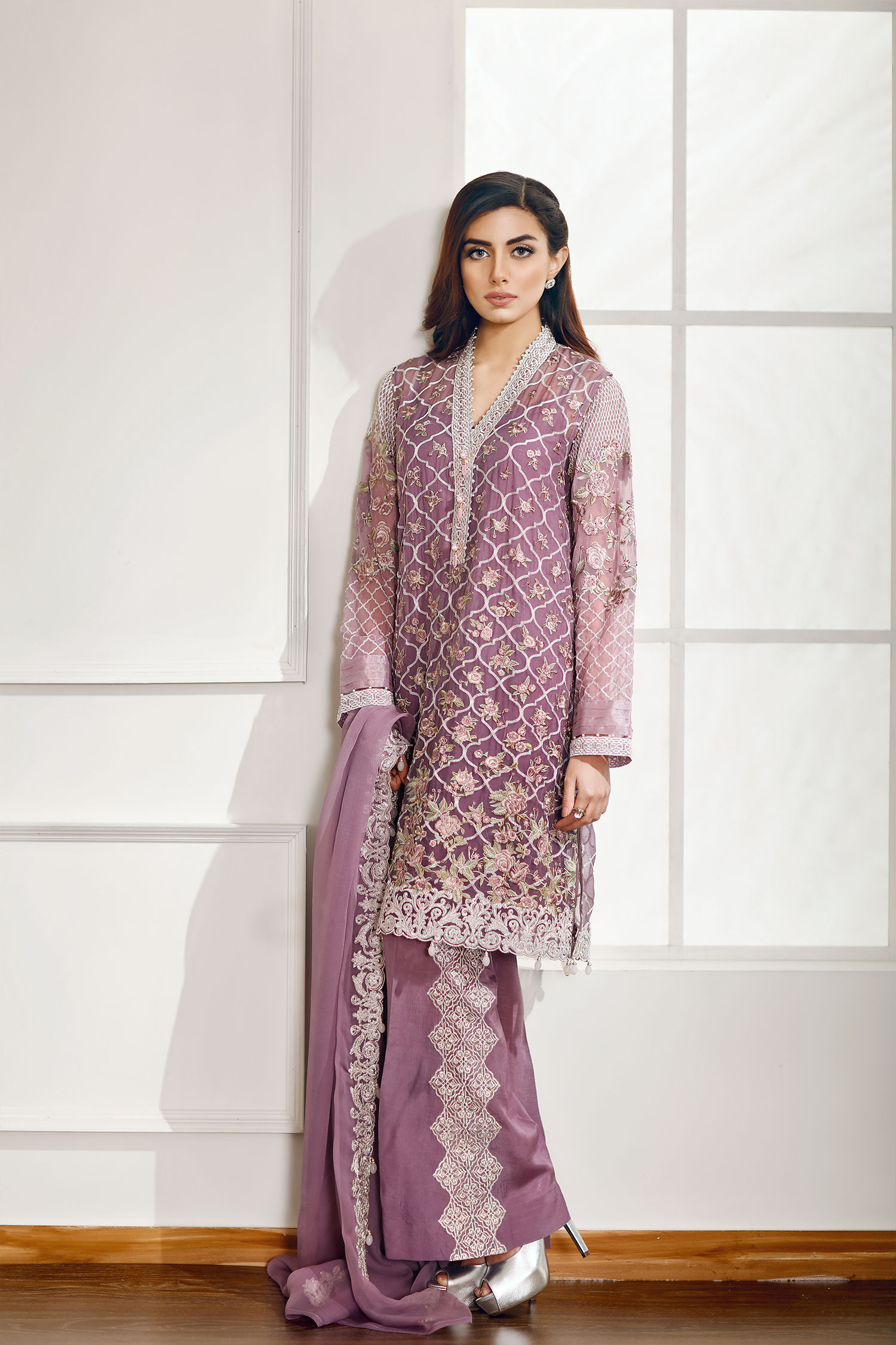 latest party wear embroidered shirts with trousers/ pants collection