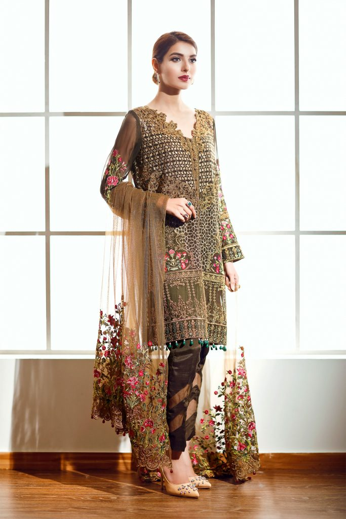 Latest Party Wear Embroidered Shirts with Trousers 2018-2019 Designs ...