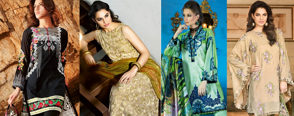 Gul Ahmed Summer Formal Dresses Silk & Chiffon Premium Collection 2017-18