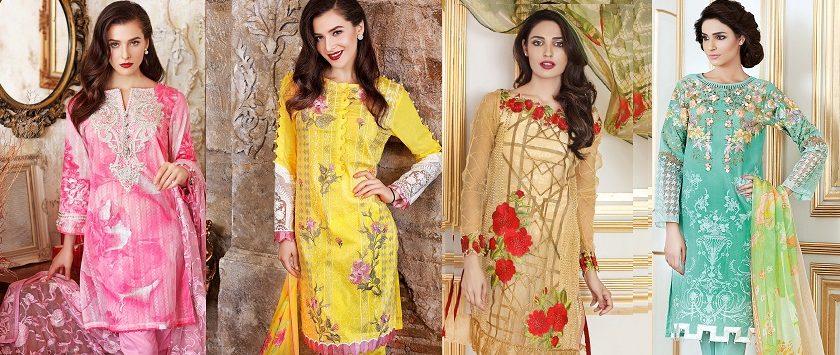 Gul Ahmed Festive Eid Collection 2017-2018 Lawn, Silk, Net & Chiffon Dresses
