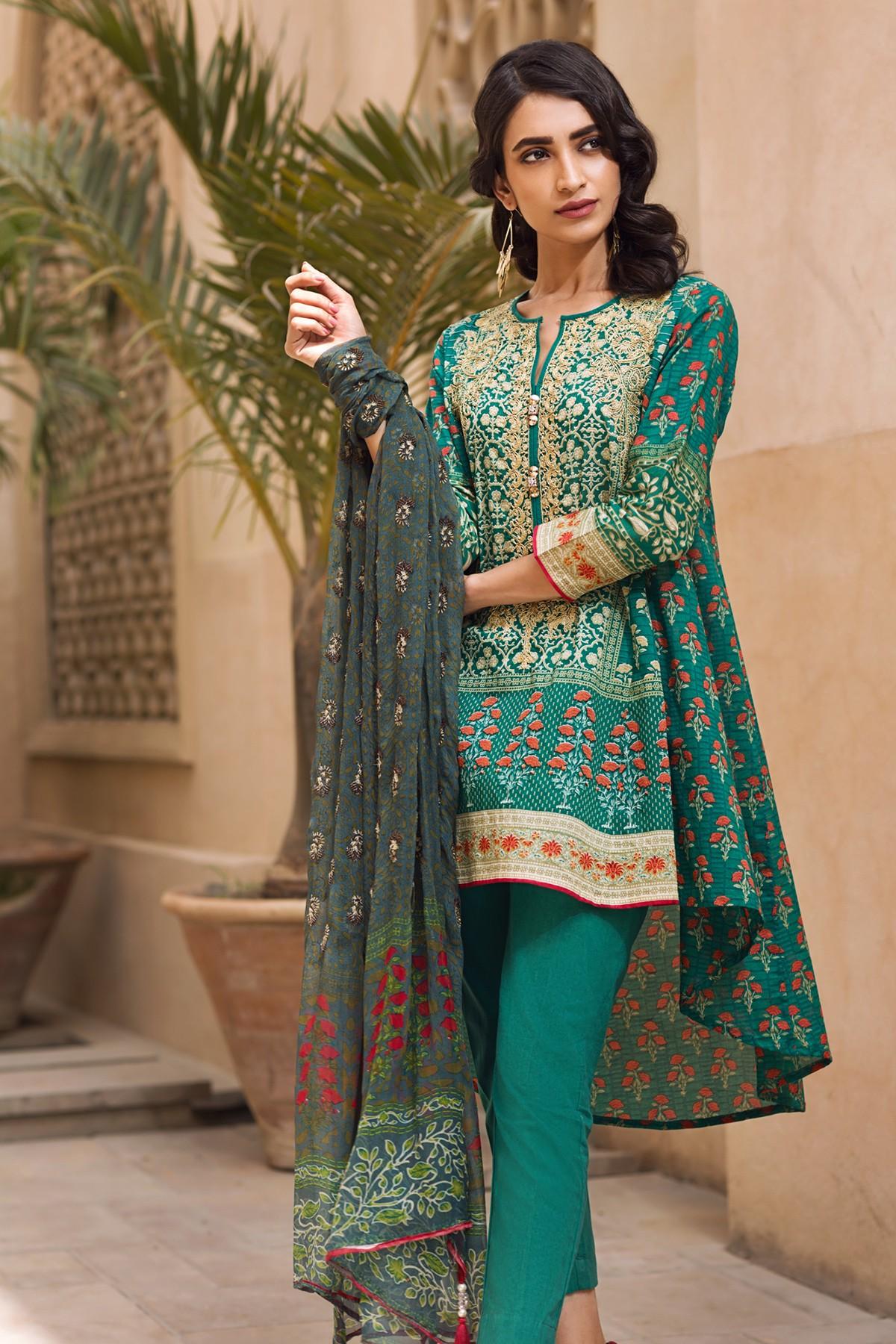 Fashion 2017 casual summer - Khaadi Lawn Chiffon Eid Dresses Designs Collection 2017 2018