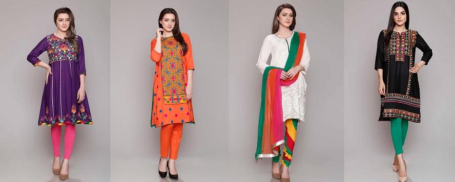 Rang Ja Embroidered Eid Colorful Kurti Dresses Collection