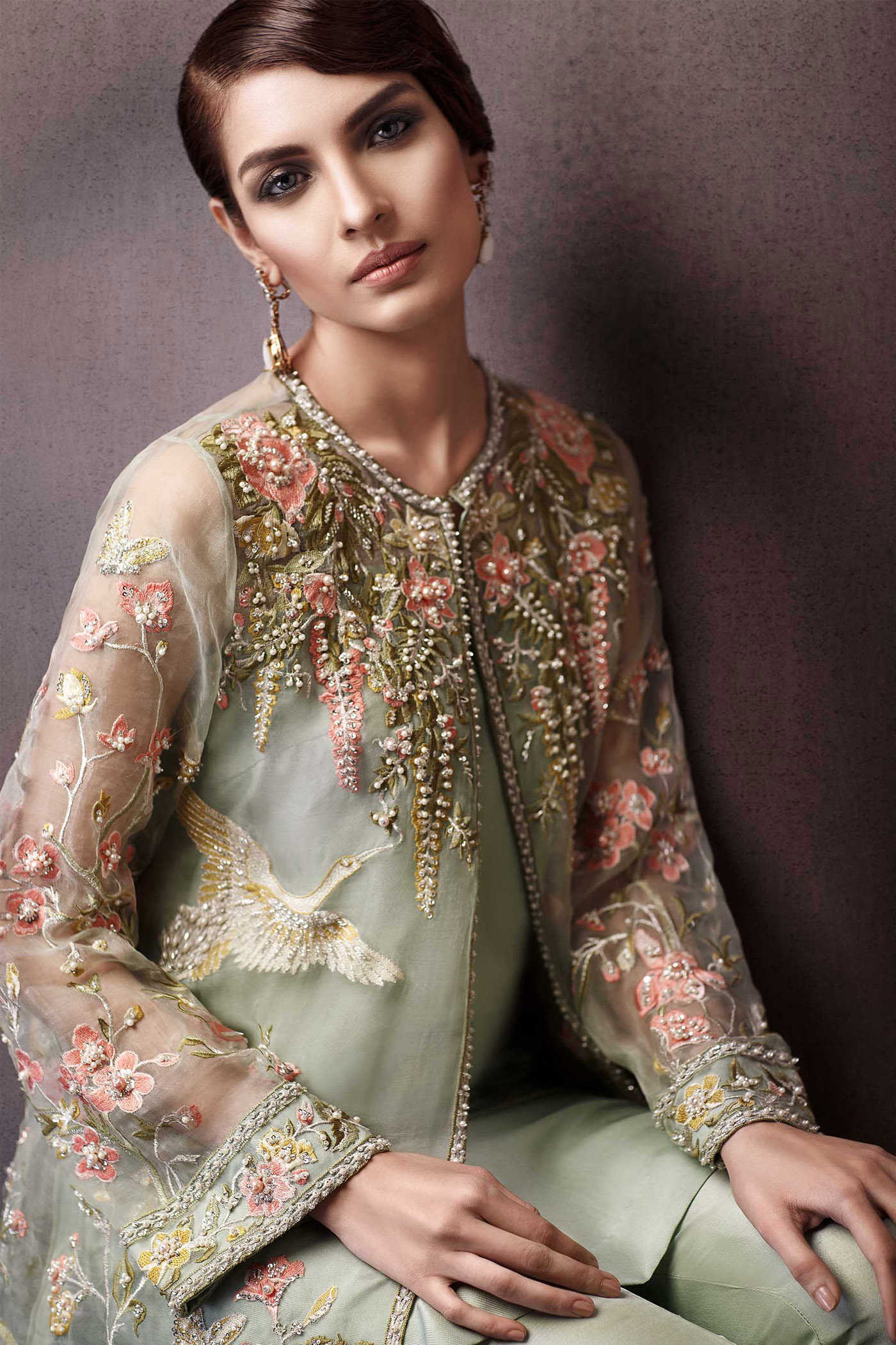 Pakistani party wear embroidered shirts 2018 2019 latest Pakistani fashion designers