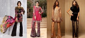 Latest Pakistani Dresses Styles Pairing Bell Bottom Pants 2017-18 Trend
