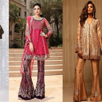 Latest Pakistani Dresses with Bell Bottom Boot cut Pants 2020 Trend