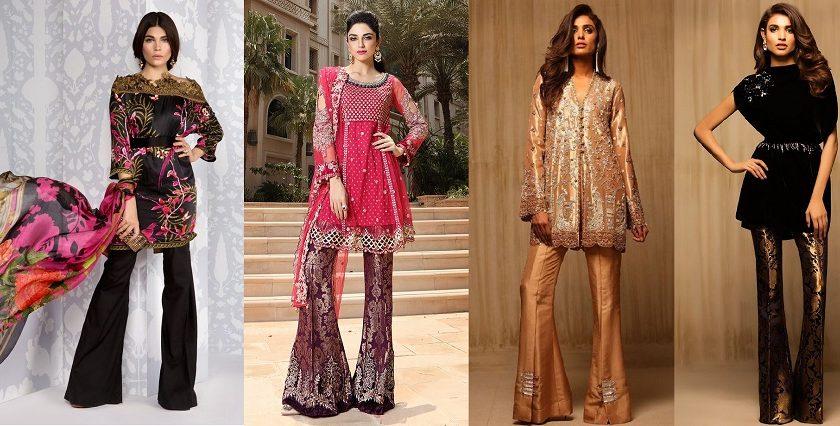 latest-pakistani-dresses-styles-pairing-bell-bottom-pants