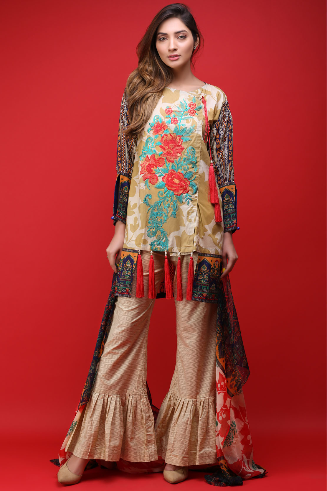 8d9589251b These designs come with the printed and embroidered range having chiffon  dupattas. The price range for this assortment is 2,595 to 3,595 pkr.