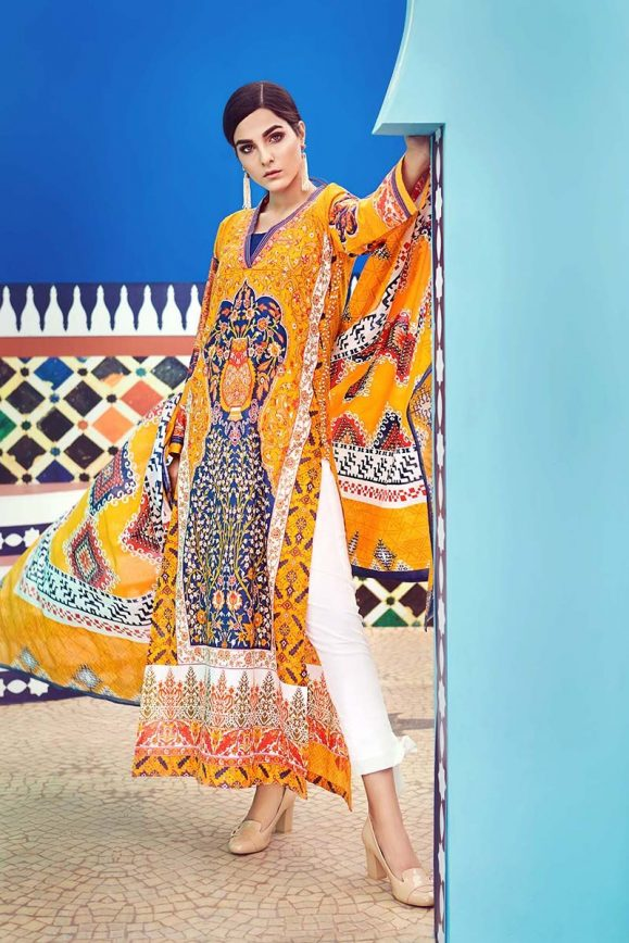 gul ahmed printed summer lawn dresses collection 20182019