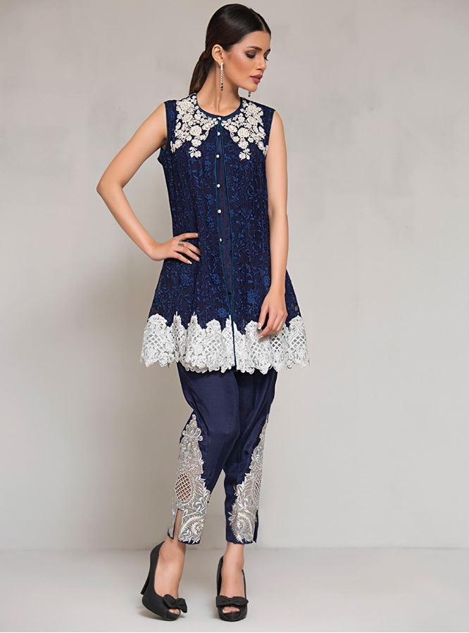 LATEST PAKISTANI SHORT FROCKS PEPLUM TOPS WITH CIGARETTE PANTS (2)