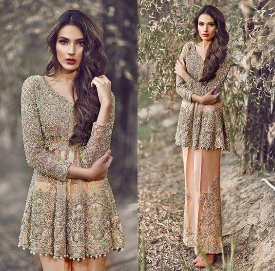 Latest Pakistani Short Frocks Peplum Tops Styles & Designs