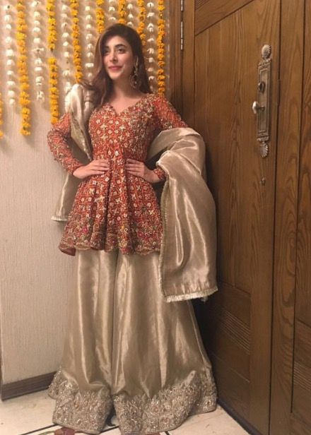 Latest Pakistani Short Frocks Peplum Tops With Sharara 4
