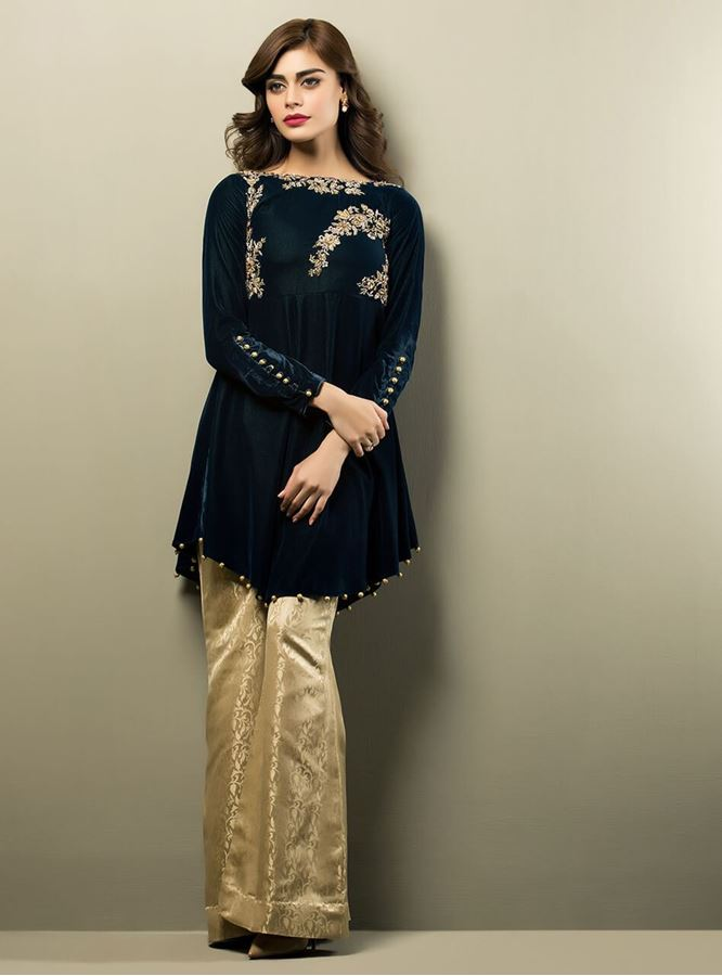 Latest Pakistani Short Frocks Peplum Tops With Bell