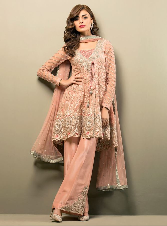 Latest Pakistani Short Frocks Peplum Tops with bell bottoms (2)