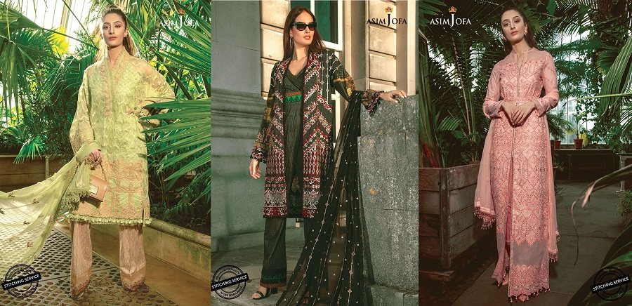 Asim Jofa Printed Embroidered Designer Lawn Dresses Collection 2019