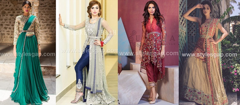Pakistani Waist Belt Dresses Designs Latest wedding & party Trends