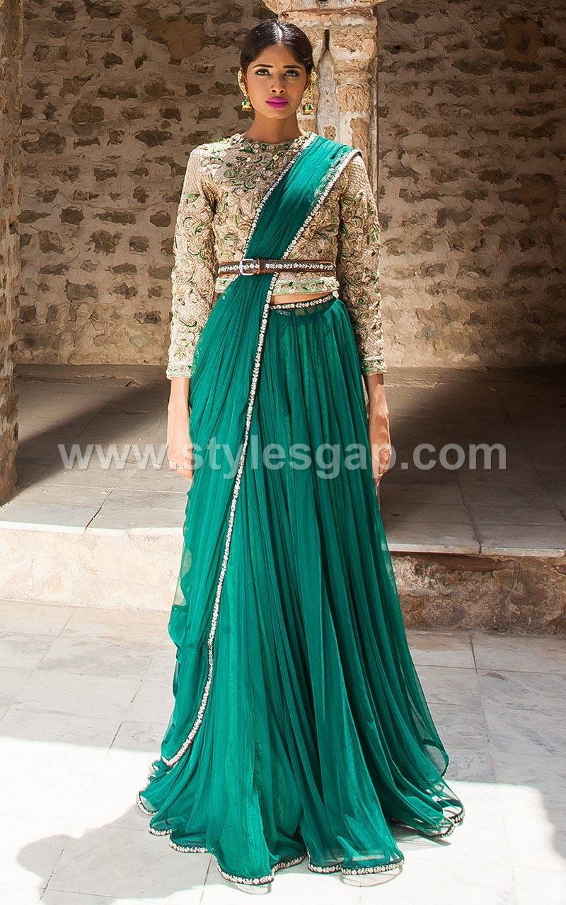 Sarees-Pakistani Waist Belt Dresses Designs (1)