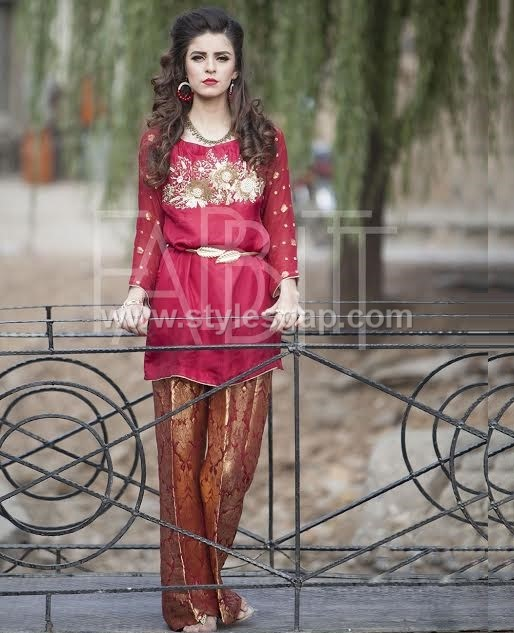 Tunics- Pakistani Waist belt Dresses Designs (10)