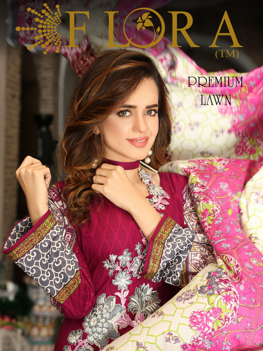 Flora Premium Lawn Designs Collection 2017-2018 Best Pakistani Lawn Suits (1)