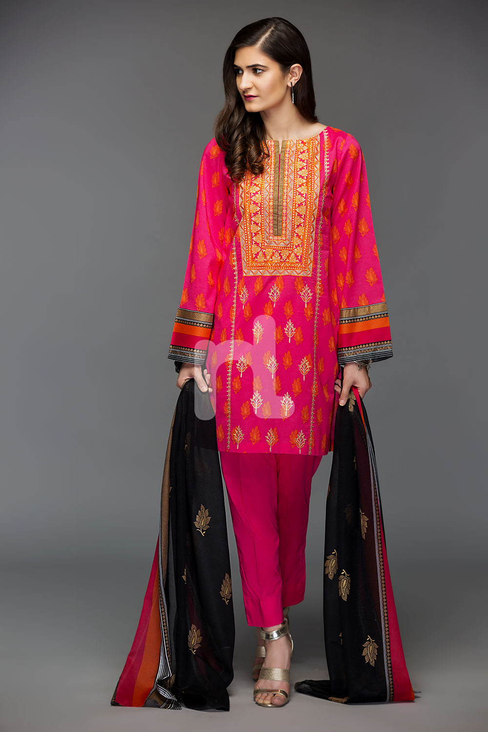 ab764e6ca2 Energetic and contemporary green colored three piece unstitched lawn dress  is paired with a graceful lawn shirt, two embroidered motifs, printed  krinckle ...
