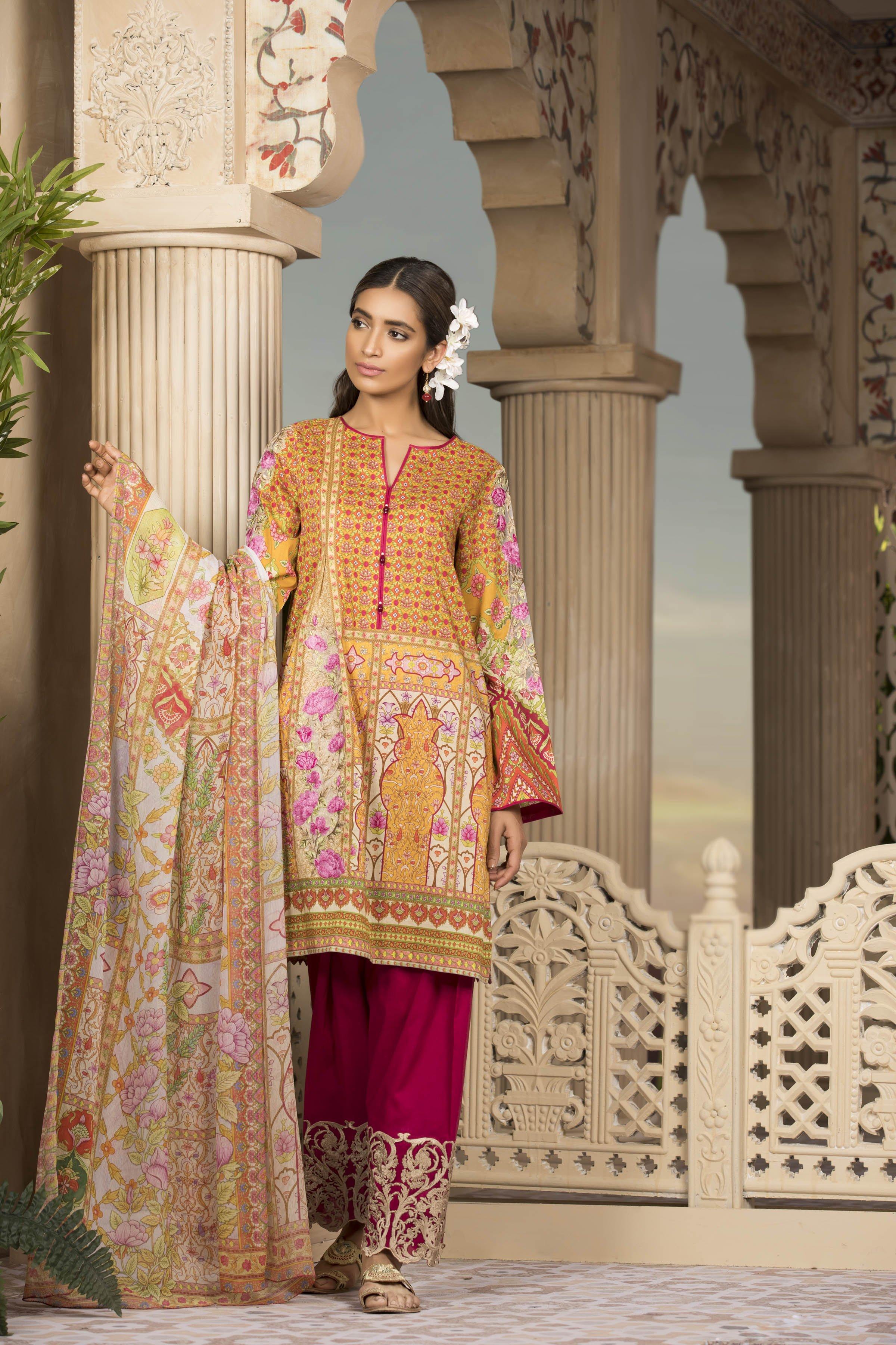 Five Star Printed Lawn Unstitched 3 Piece Suit FS19-L3 ... |Five Star Lawn Eid Collection