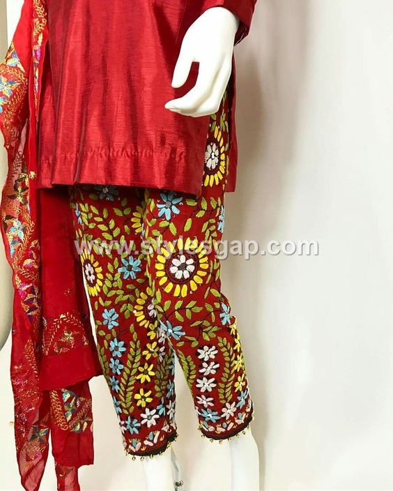 Best Latest Phulkari Dress Designs, Duppatta, Trousers, Jackets (3)