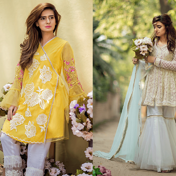 Lahori Ink Semi Formal Eid Dresses Designs Kohkaaf Collection 2020