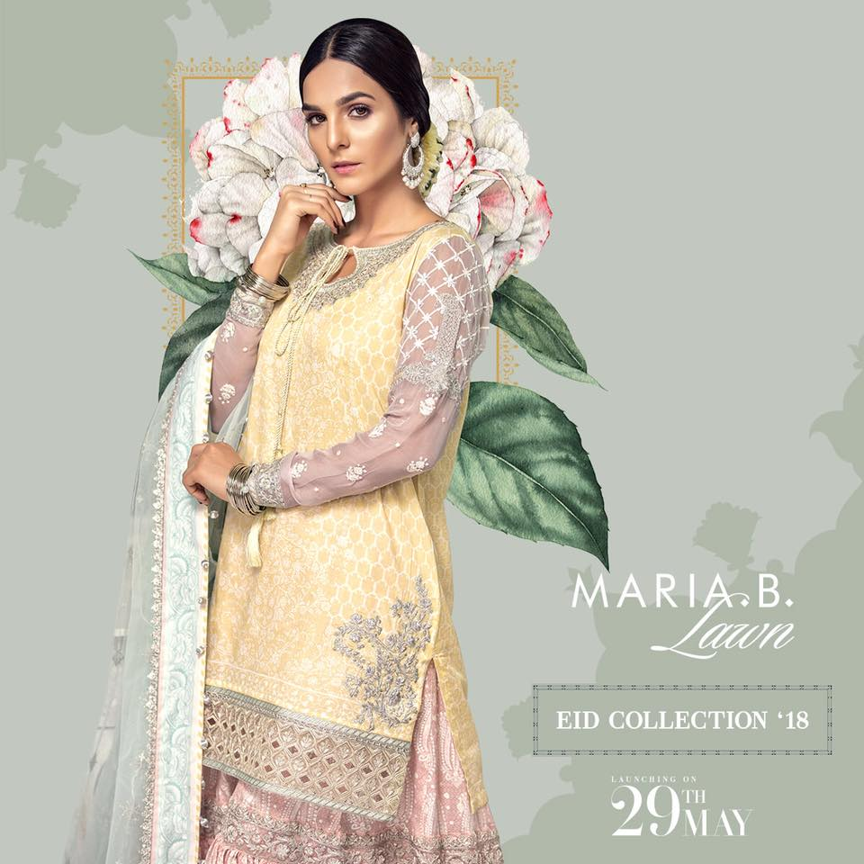 Beautiful Latest Eid Hairstyles Collection 2017 2018 For Women: Latest Maria B Eid Lawn Dresses Designs Collection 2018-2019