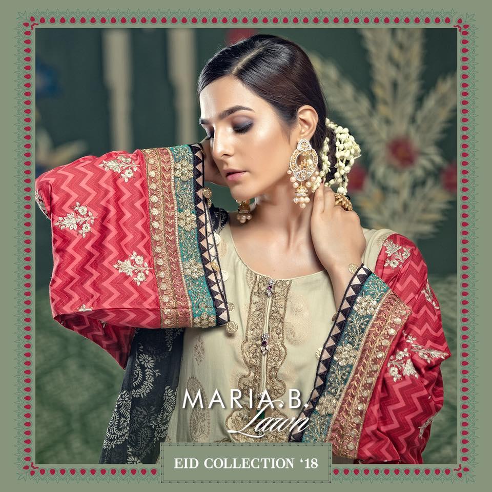 Latest Maria B Eid Lawn Dresses Designs Collection 2018-2019