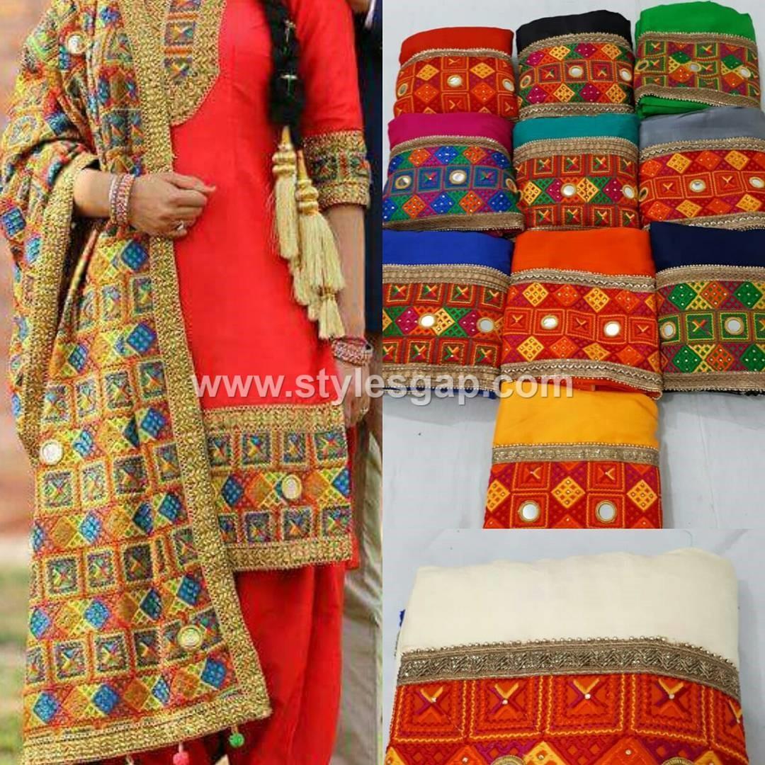Latest Phulkari Dress Designs 2018 19 Dupatta Trousers
