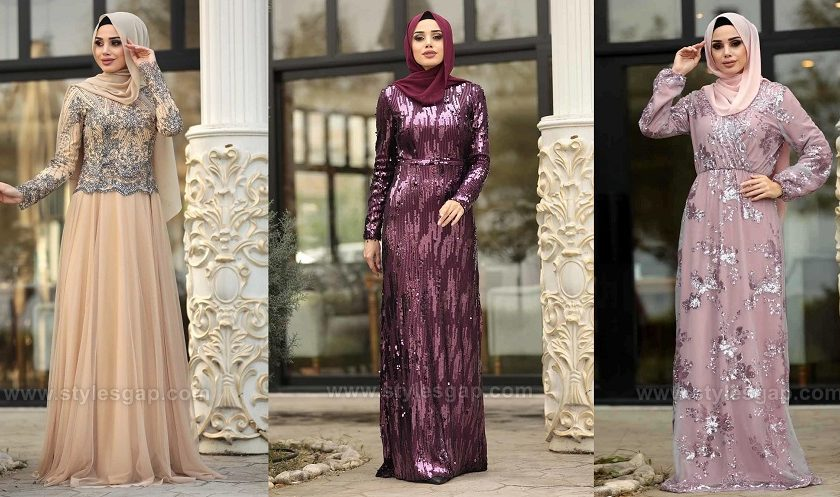 Latest Fancy Party Wear Formal Hijabs Abaya Evening Dresses