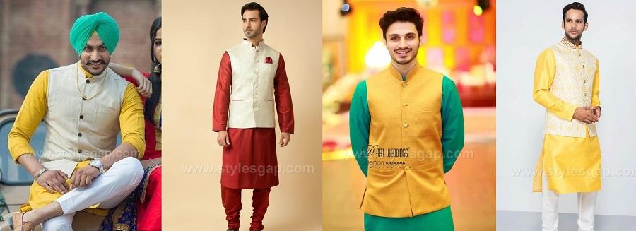 Latest Men Mehndi Dresses Kurta Shalwar Kameez Designs 2017-18