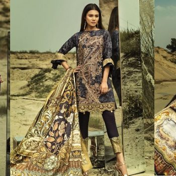House of Ittehad Winter Embroidered Shawl Linen Dresses 2018-19