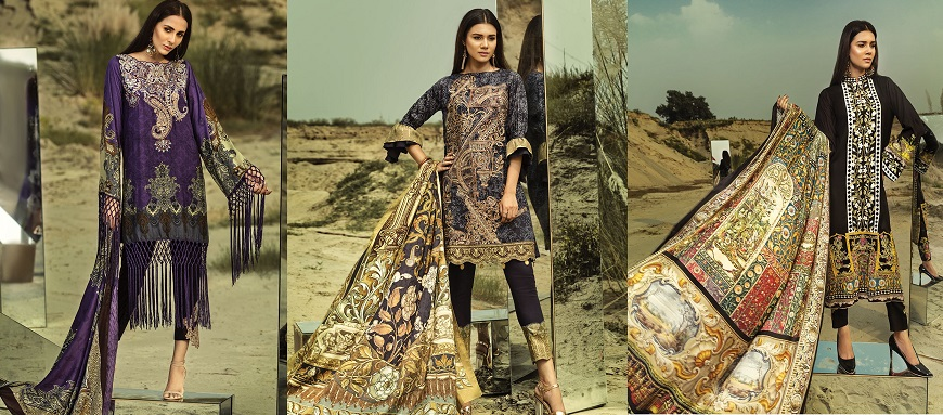 House of Ittehad Winter Embroidered Shawl Linen Dresses 2018-2019