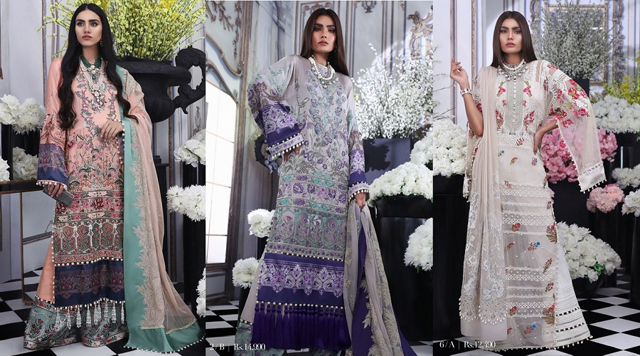 Sana Safinaz Silk Chiffon Dresses Designs Luxury Collection 2019-2020