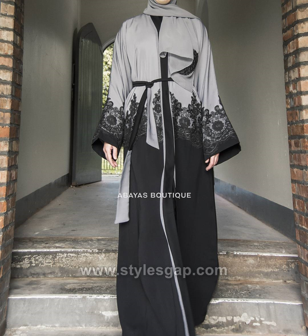 Fancy Lace Embroidered Abaya Designs Latest Collection 2018 2019 Hitam Arab Gold Black Leaf Like Inner Belt Open Dress Has A Practical Style With Simple Kimono Sleeves And Cotton Floral On Cuffs Hem Of The