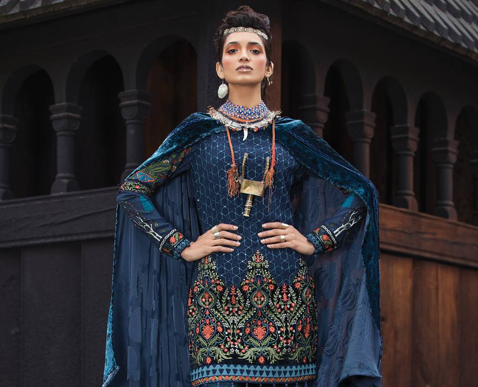 Latest Maria B Winter Linen Dresses Collection 2018 2019