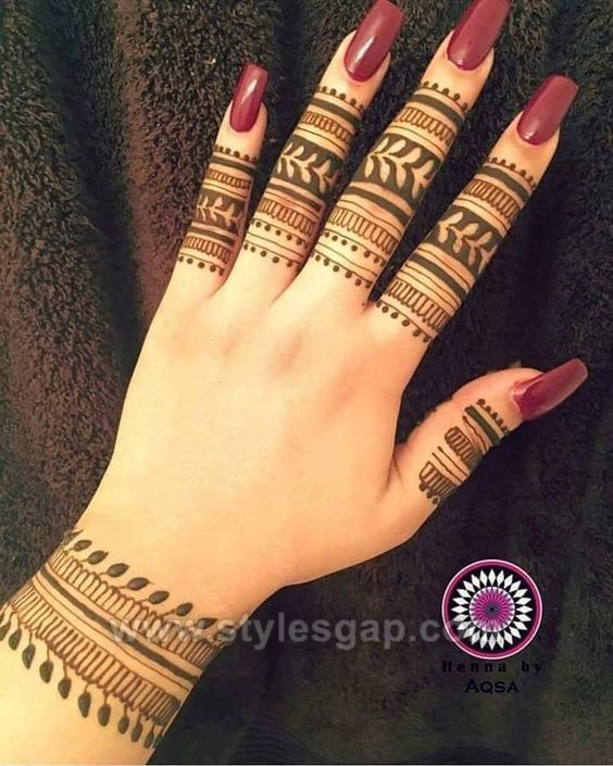 Beautiful easy finger mehndi designs 2018 2019 styles for Henna tattoo fingers