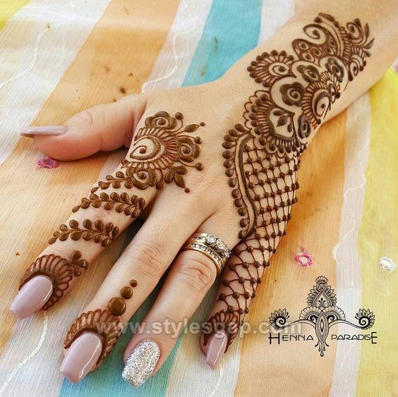Mehndi Hairstyles 2018 : Beautiful easy finger mehndi designs  styles