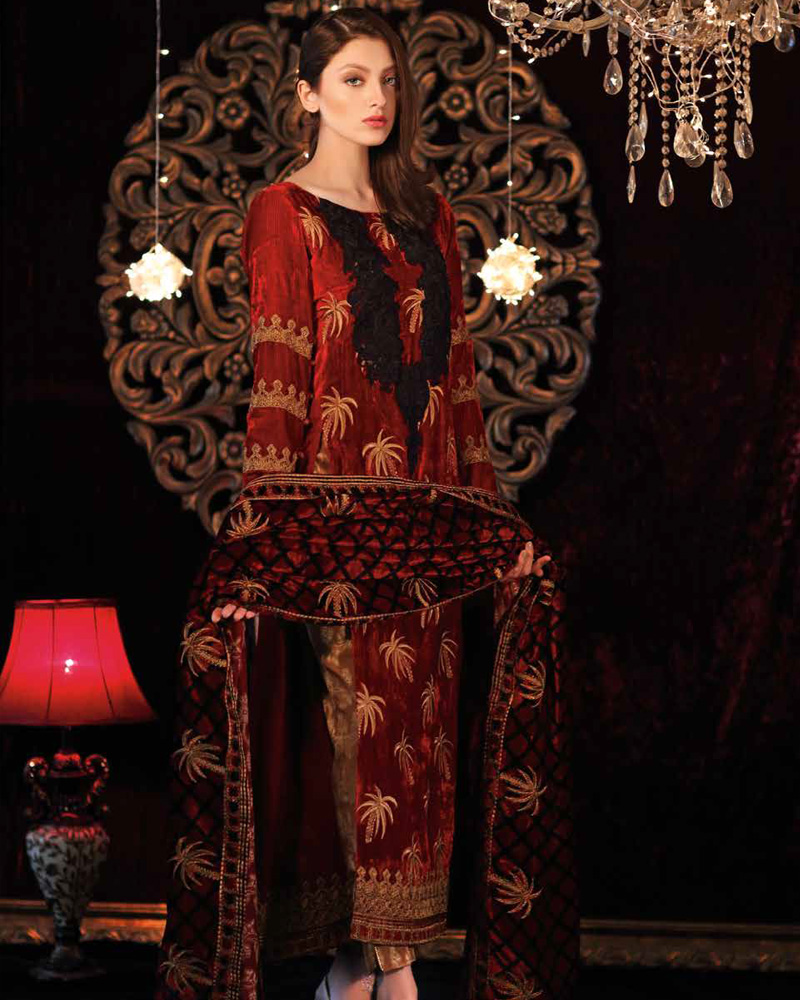 4451f27b3 Velvet gowns are available in double layer voluminous dresses with an  intricate series of embroideries whereas some are crafted with a  monochromatic style ...