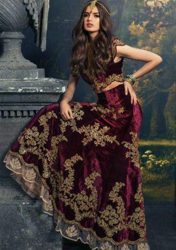 Velvet Lehenga Winter Velvet Dresses Designs Latest