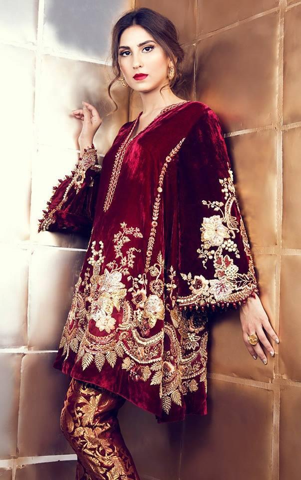 Velvet Shirt Designs   Velvet Shirt Trousers Winter Velvet Dresses Designs Latest Trends
